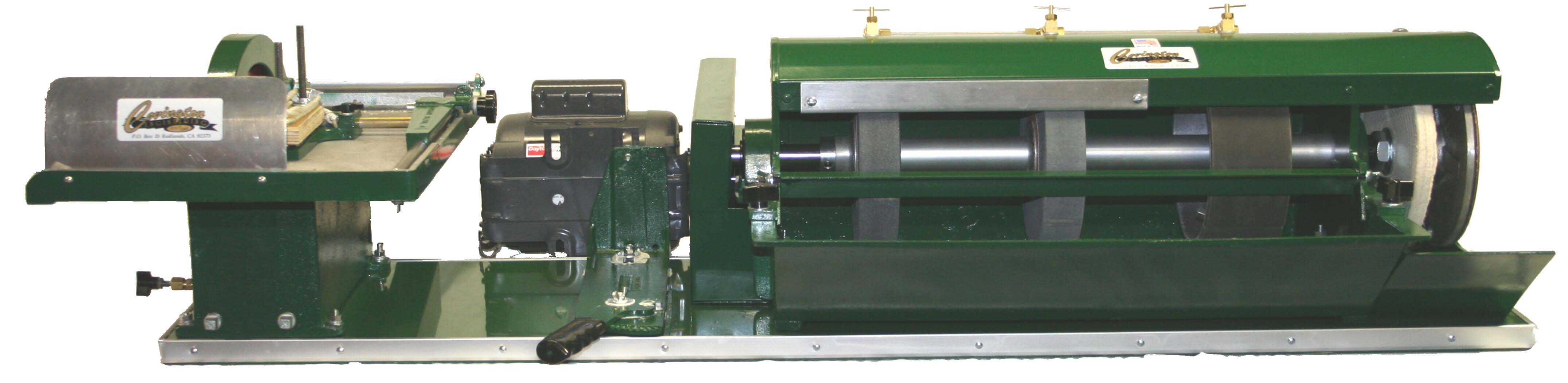 8 inch Silicon Carbide Combination machine with 10 inch trim saw and Power Feed 446dsp